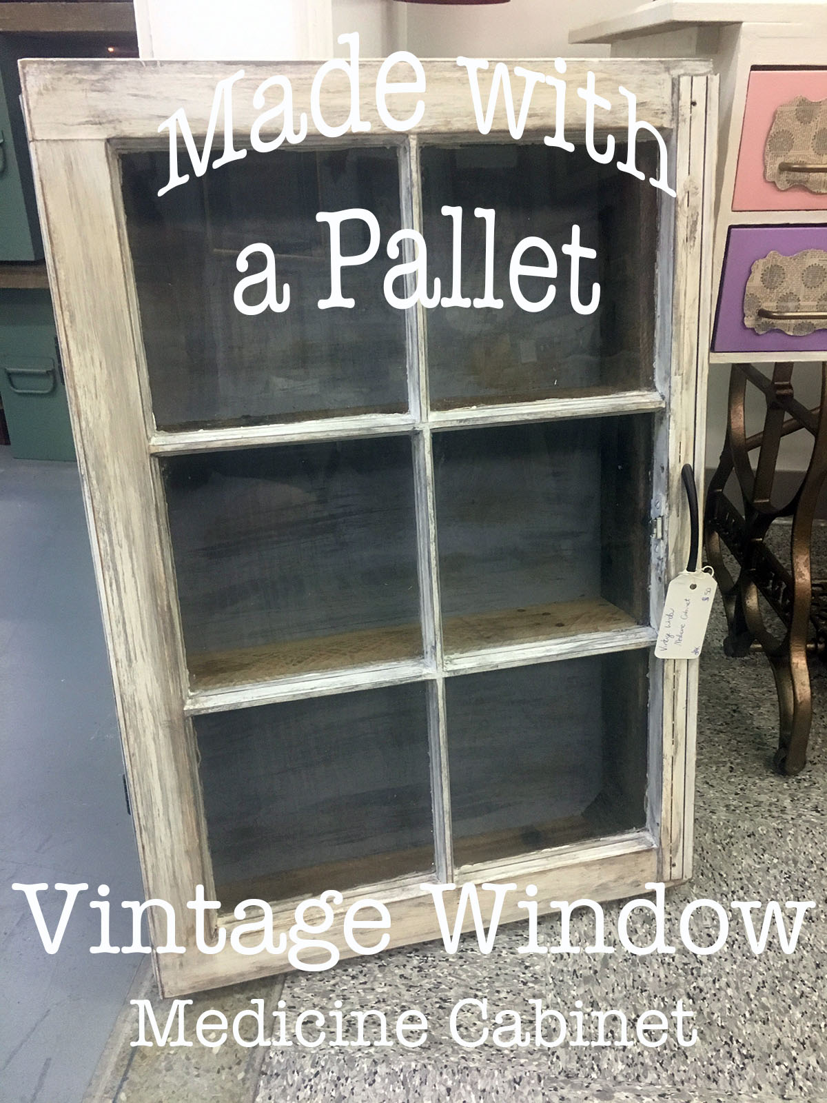 Vintage Window Medicine Cabinet – from a Pallet!